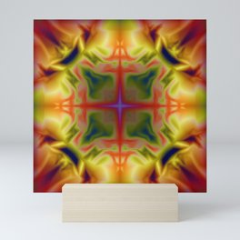 Soft drawing with colorful patterns in batik Mini Art Print