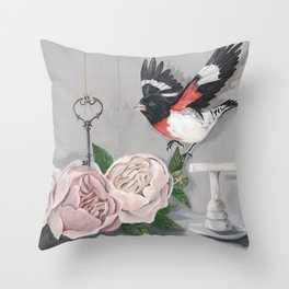 Rose-breasted Grosbeak Victorian Throw Pillow