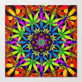 Stoners' Mandala Cannabis Leaves Canvas Print