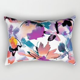 Sara Floral Blue Rectangular Pillow