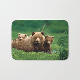 Spectecular Grizzly Bear Mother With Adorable Two Cubs In Meadow Ultra HD Bath Mat