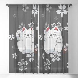 Lucky cat, white sitting maneki Sheer Curtain