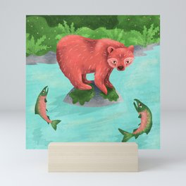 Bear fishing for salmon in the Great Bear Rainforest Mini Art Print