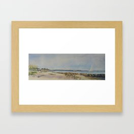 Seaside Beach View of Harkness Memorial Park Waterford CT Framed Art Print