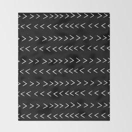 mudcloth 14 minimal textured black and white pattern home decor minimalist beach Throw Blanket