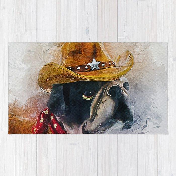 Cowboy Bulldog Rug By Ianmitchell Society6