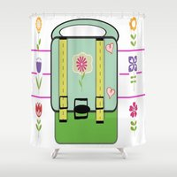 backpack Shower Curtains featuring Backpack - Flower Power by Drape Studio