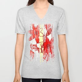 Red Floral Decay Unisex V-Neck