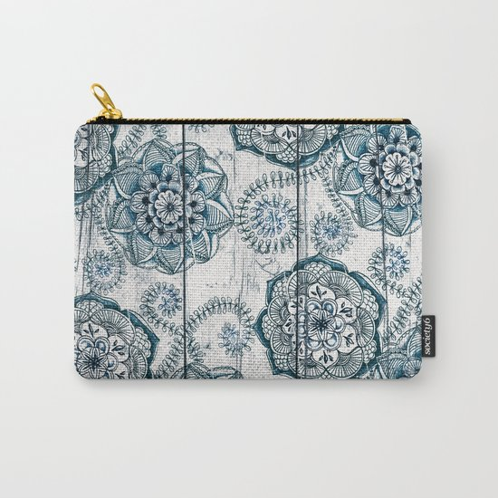 Navy Blue Floral Doodles on Wood Carry-All Pouch