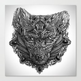 Ornament Bear - Black & White  Canvas Print