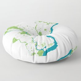 Philadelphia Map - Green Spaces Philly Parks Floor Pillow