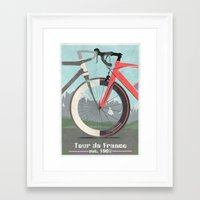 tour de france Framed Art Prints featuring Tour De France Bicycle by Wyatt Design