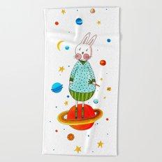 Farm animals in space - Bunny Beach Towel