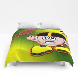 Comic Character with Football Helmet About to Catch Ball Comforters