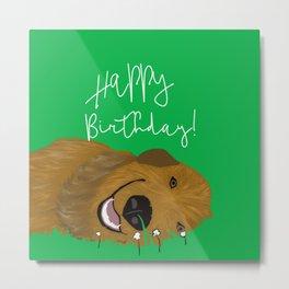 Golden Doodle Birthday Card Metal Print