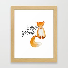 Zero Fox Given Framed Art Print
