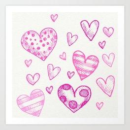 Cute Hand Drawn Pink Heart Valentine's Day Pattern Art Print