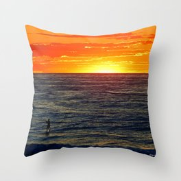 Paddle Boarding at Sunset Throw Pillow