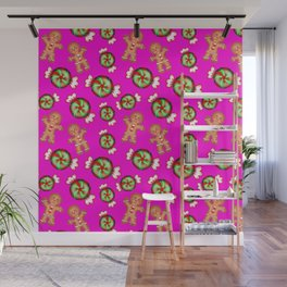 Cute lovely decorative seamless festive Christmas pattern. Happy gingerbread men and sweet candy. Wall Mural