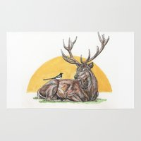 stag Area & Throw Rugs featuring Stag by Meredith Mackworth-Praed