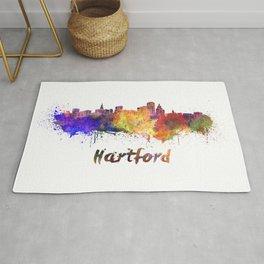 Hartford skyline in watercolor Rug