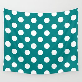 Polka Dots (White/Teal) Wall Tapestry