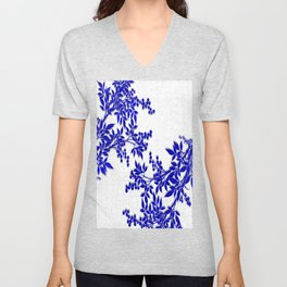 BLUE AND WHITE  TOILE LEAF Unisex V-Neck