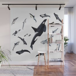 Dolphins all around Wall Mural