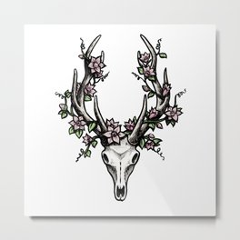 Skull and Antler Illustration with Flowers Metal Print