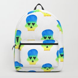 Skull with Heart Eyes Pattern in Blue Yellow Gradient Backpack