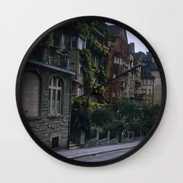 Vintage Color Photo * Lucerne * Switzerland * Apartments * Ivy * Flowers * 1950's Wall Clock