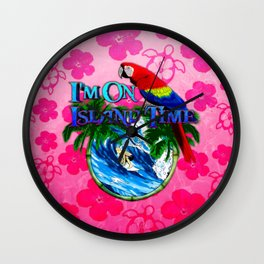 Island Time Surfing Pink Hibiscus Wall Clock