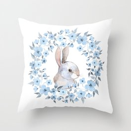 Rabbit and floral wreath. Watercolor Throw Pillow