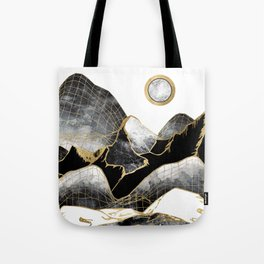 Minimal Black and Gold Mountains Tote Bag