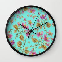 aelwen Wall Clocks featuring beach roses mint by Ariadne