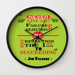 Never give up! Failure and rejection are only the first step to succeeding.– Jim Valvano Wall Clock