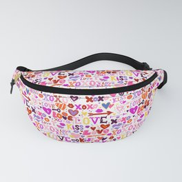 Love doodles in pink colors Fanny Pack
