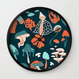 Mushroom Pattern (blue) Wall Clock