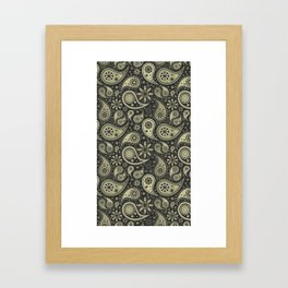 Brown and Tan Paisley Design Pattern Background Framed Art Print