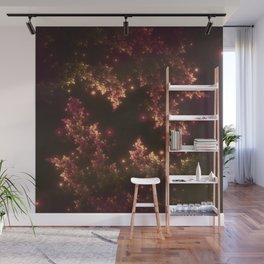 Fractal Leaves Red Glow Wall Mural