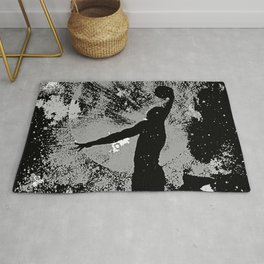 SLAM DUNK IN BLACK AND WHITE Rug
