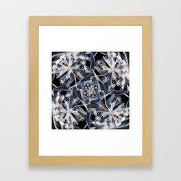 Blue Gray Dark Flower Garden Design Framed Art Print