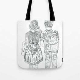 Geometric Japanese Black and White Linework Love couple Tote Bag