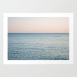 PINK SKY, BLUE SEA, EVENING SWIM Art Print