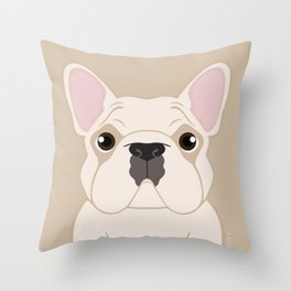 Frenchie - Cream Throw Pillow