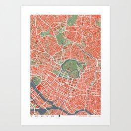Tokyo city map classic Art Print