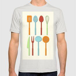 Kitchen Utensil Colored Silhouettes on Cream T-shirt