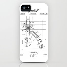 Industrial wrench patent iPhone Case