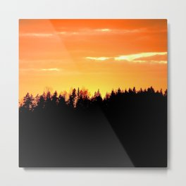 Black Forest Silhouette In Orange Sunset #decor #society6 Metal Print