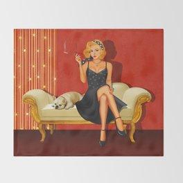 Pin Up Glamor Girl Throw Blanket